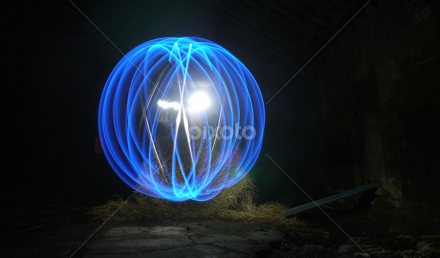 Barn Orb by Paul Stevenson - Abstract Light Painting ( blue orb, farm, northumberland, old barn, light-painting )