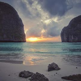 Beach by Rica Georgiana - Landscapes Beaches ( water, sky, blue, sunset, rocks )