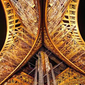 Eiffel underneath by Sebastien Gaborit - Buildings & Architecture Architectural Detail ( paris, tower, eiffel, france )