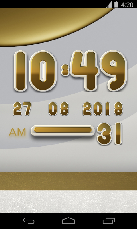 White Gold Digital Clock Screenshot 1