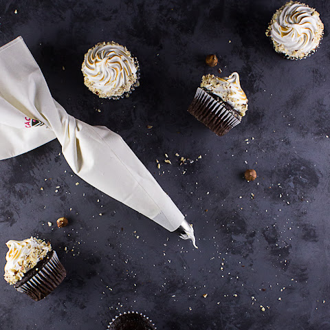 Chocolate Hazelnut Cupcakes with Bourbon Frosting