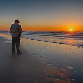 Observing Sunrise by Alan Roseman - People Portraits of Men ( surfside, surfside beach, ocean, beach, beach.sunrise, atlantic, spring, south carolina, coast )