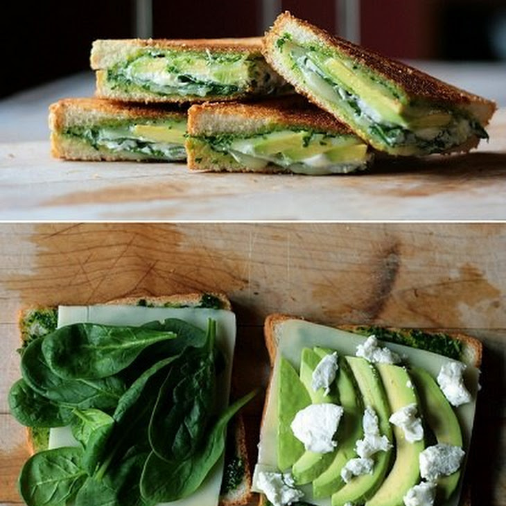 Pesto, Mozzarella, Baby Spinach, Avocado Grilled Cheese Sandwich ...