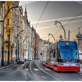 Commuting by Lani Edwards - City,  Street & Park  Street Scenes ( tram, transportation, prague, city )