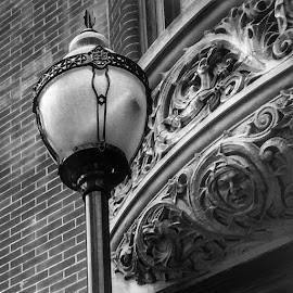 Lamp Post  by Scott Eickman - Novices Only Objects & Still Life ( building, black and white, architectural detail, iphone, lamp post )