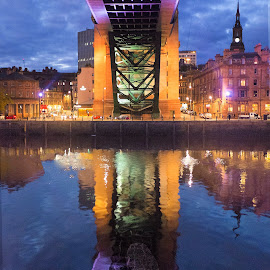 Under the Tyne Bridge by Phil Robson - Buildings & Architecture Bridges & Suspended Structures ( reflection, night, tyne bridge, newcastle, architecture, river )