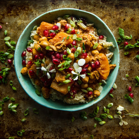 Pumpkin Chicken Curry with Cranberry Coconut Almond Rice