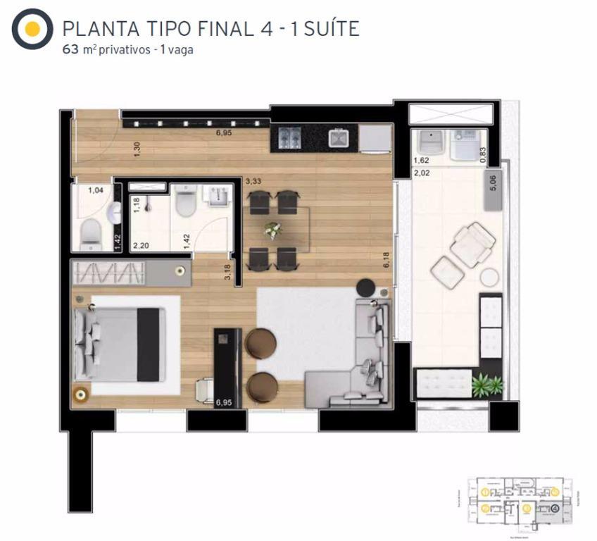 Planta Tipo Final 4 - 63 m²