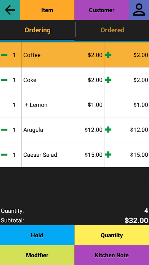 Restaurant Point of Sale | Cash Register - W&O POS Screenshot 2