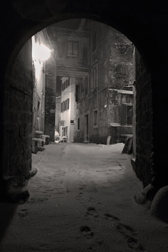 Snow in Groznjan by Miranda Legović - City,  Street & Park  Neighborhoods ( snow falling night,  )