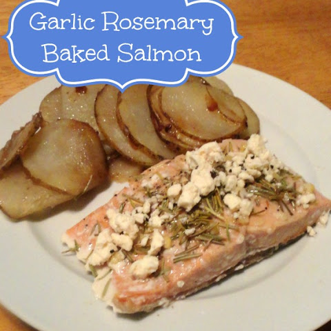 Garlic Rosemary Baked Salmon with Feta
