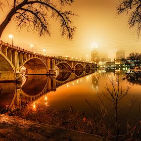 The Still of the Night by Mark Goodman - Buildings & Architecture Bridges & Suspended Structures ( minnesota, third avenue bridge, minneapolis, night,  )