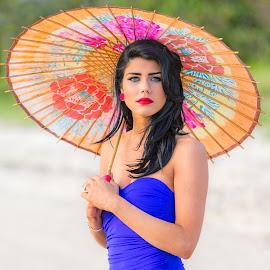 Vicky Under Parasol by Carl Albro - People Portraits of Women ( swimsuit, woman, parasol, beauty )