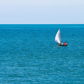 in the middle of the ocean by Opang Sopanji Danubrata - Landscapes Beaches ( #landscape, #blue, #ocean, #fisherman,  )
