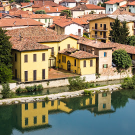 Skyline by the river by Fabio Latorre - City,  Street & Park  Skylines ( mirror, reflection, skyline, italy, river )