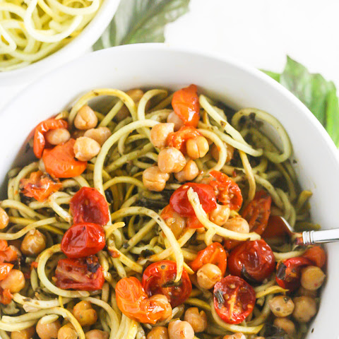 Squash Noodles with Kale Arugula Pesto and Roasted Chickpeas