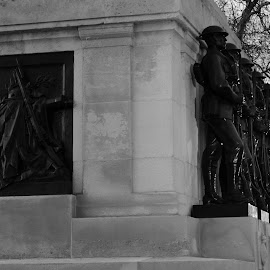 The Guards Stand Easy by DJ Cockburn - Buildings & Architecture Statues & Monuments ( monochrome, memorial, gilbert ledward, black and white, portland stone, architecture, military, grayscale, bronze, cenotaph, statue, england, world war one, portland limestone, london, british army, division of guards, westminster, horseguards parade, historical, first world war, britain )