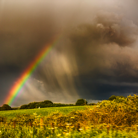 Rainbow Storm by Tommy  Cochrane - Landscapes Weather ( clouds, weatherscape, meadow, storm, landscape, rainbow, rain )