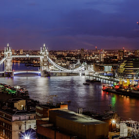 Tower Bridge by Dimitri Foucault - Travel Locations Landmarks ( tower, pwclandmarks, london, night, bridge, city )