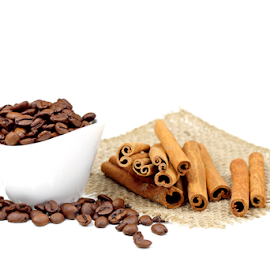 Coffee beans and Cinnamon sticks by Dipali S - Food & Drink Ingredients ( studio, caffeine, aromatic, spice, macro, seasoning, nature, ingredient, closeup, bean, cinnamon, decoration, coffee, white, flavor, star, traditional, delicious, pattern, food, sticks, cafe, healthy, brown, group, culture )