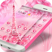 APK App Pink Rose Eiffel love Theme for BB, BlackBerry