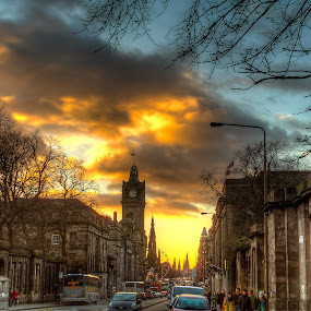 Princess Street by Mark Holm - City,  Street & Park  Historic Districts ( princess street, princess, edinburgh, hdr, sunset )