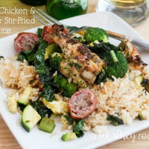 Grilled Chicken & Sausage Stir-Fried Rice