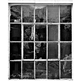 by Natasha Jensen - Buildings & Architecture Other Exteriors ( window, winter, beloit, autoshop, reflection, stories, work, blackandwhite, photography, photo, texture, art, artislife )