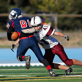 Goal line stop by Keith Johnston - Sports & Fitness American and Canadian football ( defense, running back, high school, football, ball carrier, action, tackle, running )