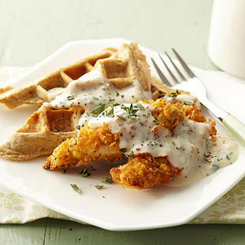 Crispy Chicken Tenders and Savory Waffles with Herb Gravy