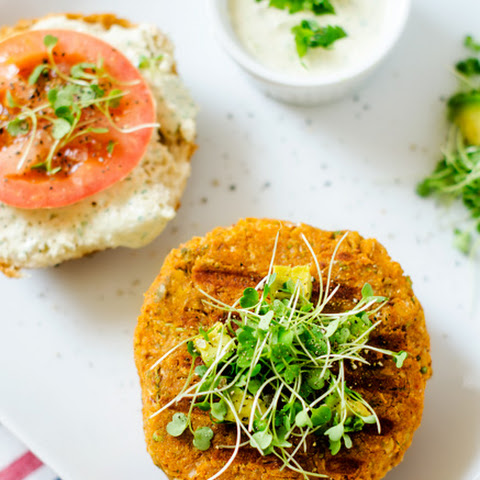Sweet Potato Quinoa Burgers with Avocado Cilantro Yogurt Sauce