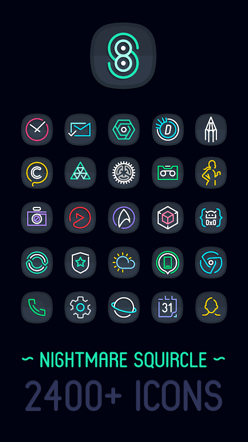 Nightmare Squircle ~ Dark S8/Note8 Icon Pack Screenshot 0
