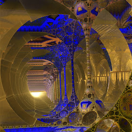The Blues Corridor by Rick Eskridge - Illustration Sci Fi & Fantasy ( fantasy, corridor, mb3d, fractal, twisted brush )