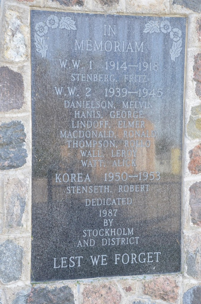 Stockholm Cenotaph War MemorialNames included from WW1, WW2, and KoreaLest We ForgetDedicated in 1987Submitted by: Jody Herperger