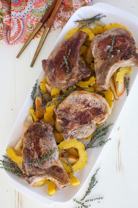 Pork Chops with Squash and Apples