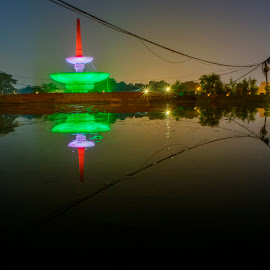 reflection  by Kallol Bhattacharjee - City,  Street & Park  City Parks ( reflection, night photography, tricolor, nikon, tokina, nightscape )