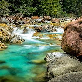 Lake River by Bogomir Košir - Landscapes Waterscapes ( water, red stones, grey stones, bushes, stones, yelow stones, river )