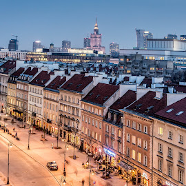 Warsaw old town at dawn by Adrian Ioan Ciulea - City,  Street & Park  Historic Districts ( dawn, street, old town, buildings, historic district, long exposure, cityscape, street lights, city )