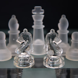 chess by Twan Konings - Black & White Objects & Still Life ( tabletop, horse, glass, white, chess, black )