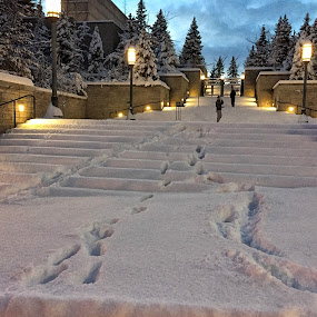 First steps by Jeannie Matteson - City,  Street & Park  Street Scenes ( two, winter, utah, blue hour, snow, salt lake city )