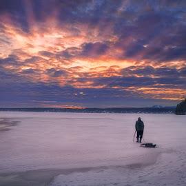 Winter evening over lake Magog by Dragan Milovanovic - Landscapes Sunsets & Sunrises