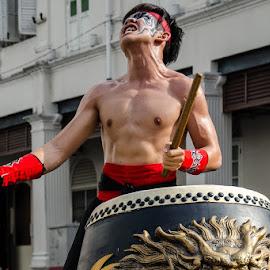 Drummer by Wei Ze - People Musicians & Entertainers ( music, pressure, drummer, drum, emotion )