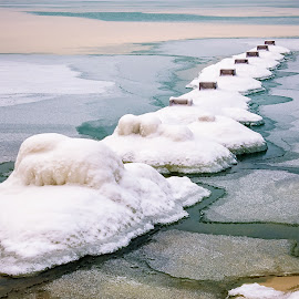 Winter Abstract by Jon Kinney - Abstract Patterns ( lake michigan, winter )