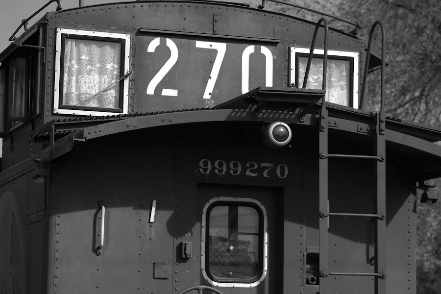 Caboose by Jay Woolwine Photography - Transportation Trains ( b&w, caboose, industrial, railway, railroad, train, trains )