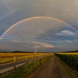 Rainbow Final Approach by Bojan Porenta - Transportation Airplanes ( final, airport, landing, il-96, ilyushin, slovenia, approach, ljubljana, rainbow )