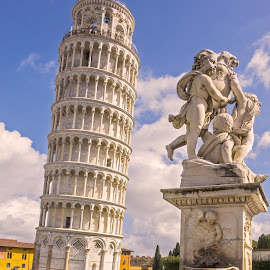 The Leaning Tower and statue of Putti Pisa by Graham Mulrooney - Buildings & Architecture Public & Historical ( vertical, marble, tuscany, italian, stone, bell tower, architecture, people, mediterranean, buildings, pisa, italy, structure, building, leaning, cherubs, church, and the statue of putti, structures, stonework, tower, statue, cherub, fountain, leaning tower, arches, architectural, fontana dei putti, historical )
