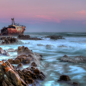 Shipwreck by Robbie Aspeling - Transportation Boats ( water, shipwreck, sunset, ship, sea, boat )