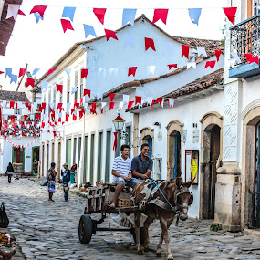 Working fun by Alexandre Rios - City,  Street & Park  Street Scenes ( urban exploration, paraty, brazil, rio de janeiro, horse, town, people, photography, city, street photography )