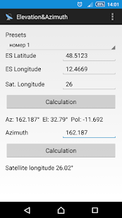 Elevation and azimuth - screenshot