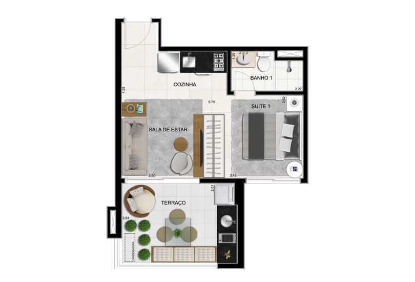 Planta Opção Final 2 - 37 m²